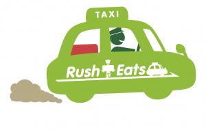 ②Rush Eatsが配達。
