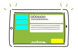 ②無線室のタブレットにお客様の注文情報が通知されます。